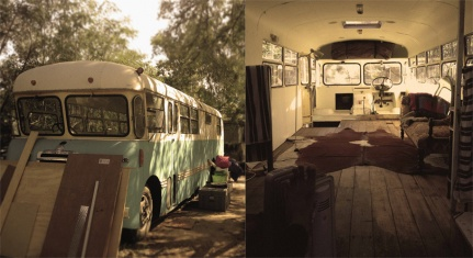 Bedford bus and pimped out interiors of Josh Northy's backyard... In Alice Springs!